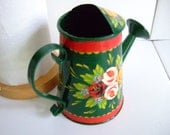 Hand-Painted Traditional Canal Art ~ Small Ornamental Watering Can or Planter
