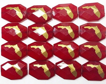 Gold Florida on Garnet Beads - Faceted Nugget Bead - Flat Rate Shipping 34mm x 24mm