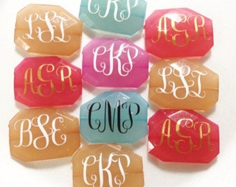 Three Letter Monogram Bead - Pick Your Colors! - Large Acrylic faceted bead for jewelry making