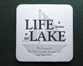 10 Personalized Letterpress Coasters - Life is Better at the Lake