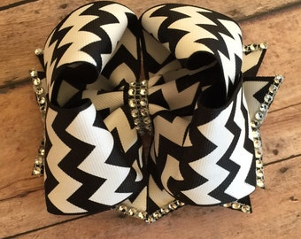 """Set of two - black and white stacked twisted boutique bows - approx 4"""" each bow"""