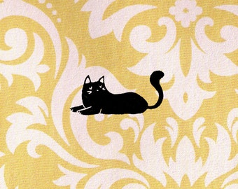 Cat Stamp - Black Cat Lying Down: Wood Mounted Rubber Stamp