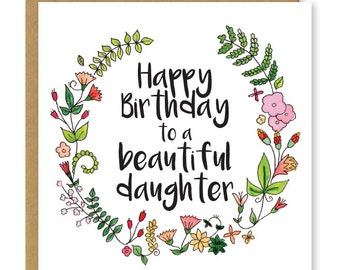 Daughters birthday card | Beautiful daughter card | Floral card