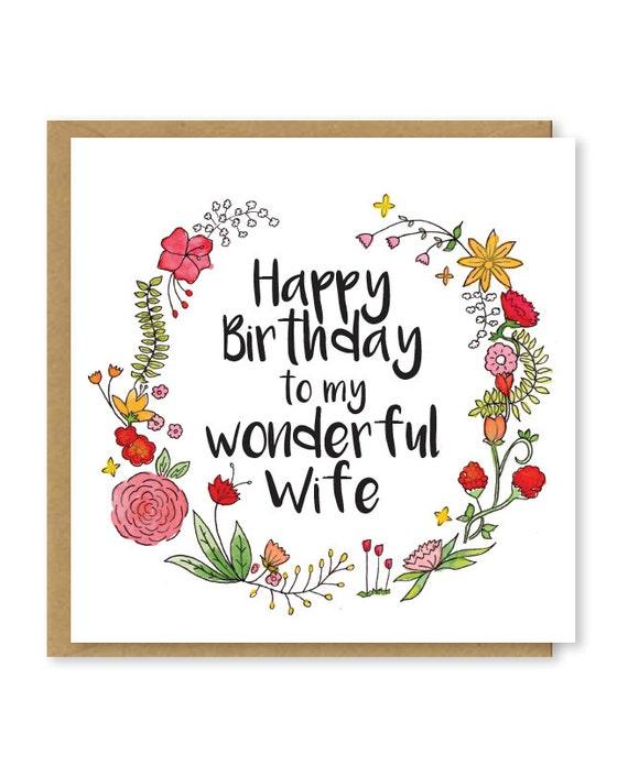 Happy birthday Wife My wonderful wife card Birthday card – Happy Birthday to My Wife Card