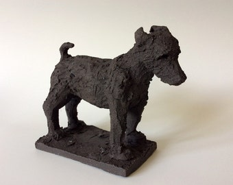 Ceramic Jack Russell terrier dog sculpture