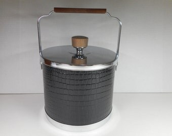 Vintage ATAPCO Ice Bucket....Mid Century Modern Black Ice Server...Retro Barware...