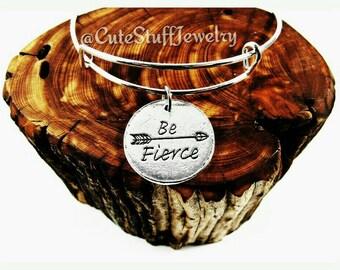 Be Fierce Bracelet, Be Fierce Bangle, Arrow Bracelet, Arrow Bangle, Handmade Inspirational Jewelry, Inspirational Bracelet, Trendy Boho Gift