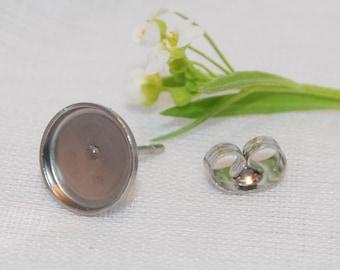 Stainless Steel Round Bezel Earring Findings - 8 mm