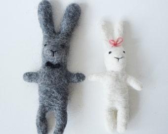 Felted bunnies - bride and groom - wedding - bunny pack