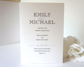 Simple Wedding Program - Modern Wedding Ceremony Programs, Folded Wedding Programs, Black and Gray- DEPOSIT