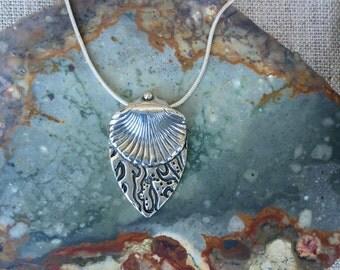Coral Shell Fine Silver Pendant