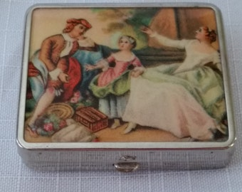 Vintage Ladies Compact Victorian Mother, Father & Child Scene on front