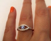 Blue Eye Ring - Jewelry - Gold Ring - Simulate Diamonds - evil eye ring - Evil Eye Jewelry - Evil Eye Protection