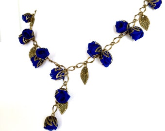 Sale!!!Handmade Fabric Rosebud Necklace Blue