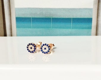 evil eye cz earrings, post back in real rose gold plated sterling silver, 100 percent safe to get wet, DEAL IS ON
