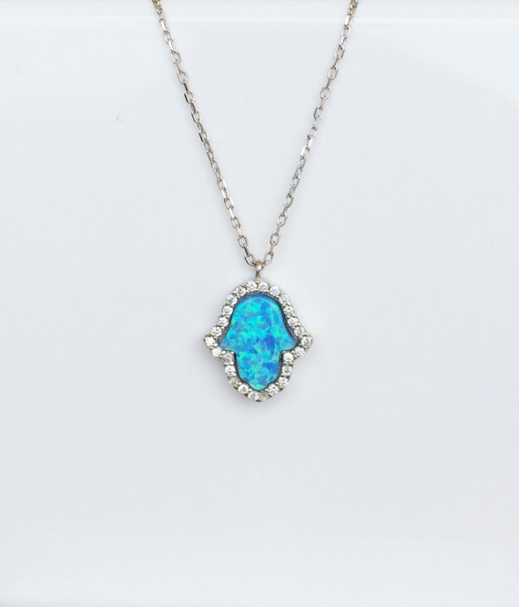 opal hamsa cz necklace sterling silver exclusive limited edition design.