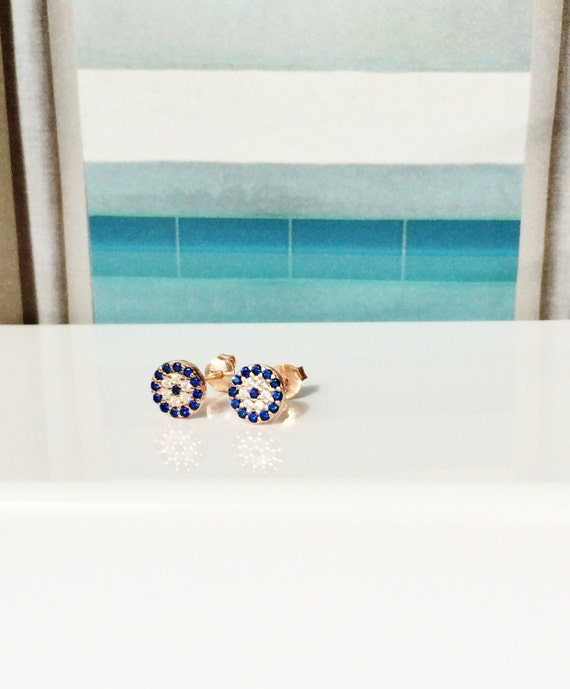 Evil Eye Earrings Zirconia • Post Back • Rose Gold Plated Sterling Silver • Safe to Wet • Price is For a Pair • Eye Gifts Are Trending Now