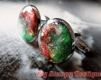 Red and Green Handpainted Space / Nebula Warm Silver Toned Cufflinks Cuff Links PAIR