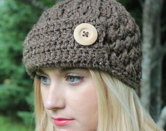 The Lucy Hat/ Crochet/ Handmade/ Button/ Warm/ Winter/ Stylish