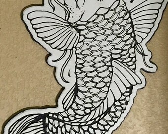 """Coy Fish traditional tatto design wooden wall art 22"""" tall"""