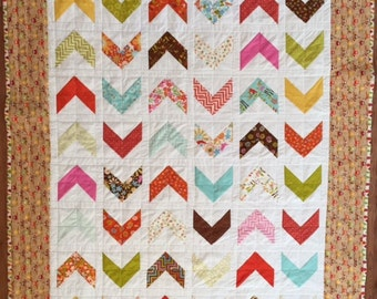 Modern Lap Quilt, Fall Colors Quilt, Little Owls Quilt, Quiltsy Handmade