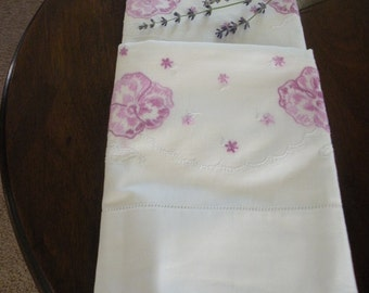 Pale Purple Pansy and Lace Pillowcases
