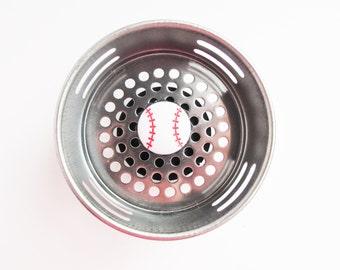 Sink Drain, Sink Strainer, Drain Plug, Baseball, Baseball Decor, Baseball Fan, Baseball Items, Sport Decor, Sport Item, Sport Kitchen, Plug