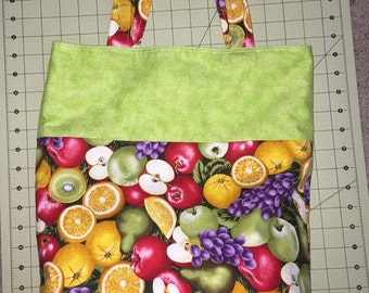 Handmade tote bag , apples