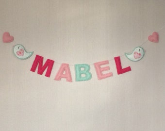 Name Sign  - Name Plaque - Mini Bunting -Personalised Bunting - Birds and hearts - Kids Room Decor - Nursery Decor