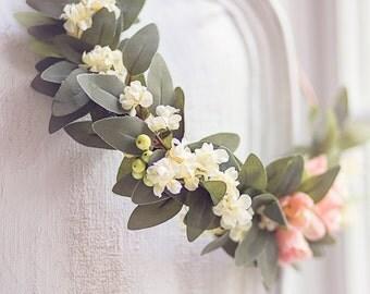 """40% OFF - Bridal Romantic Boho Pinky Peach & Ivory Flower Half Crown,Wedding Floral, Boho Wedding, Woodland Wedding, Vintage, Wreath, """"Emma"""""""