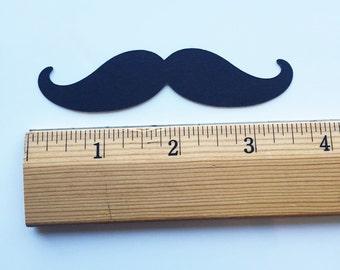 "Black Mustache Die Cuts (3.5"" wide), Little Man Shower Decor, Mustache Confetti, Mustache Table Decor, Mustache Party Props, Paper Mustache"
