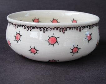 Porcelain Bowl with Pink Dots