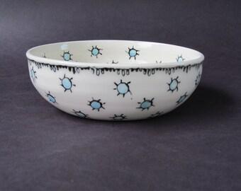 Porcelain Bowl with Blue Dots