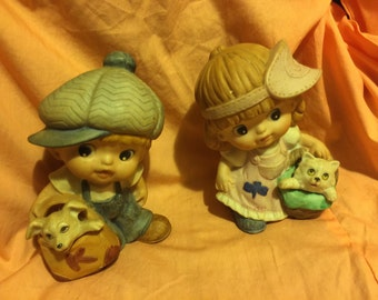 Large Eyed Boy and Girl with their pets by Homco; Collectible Big Eyed Kids;