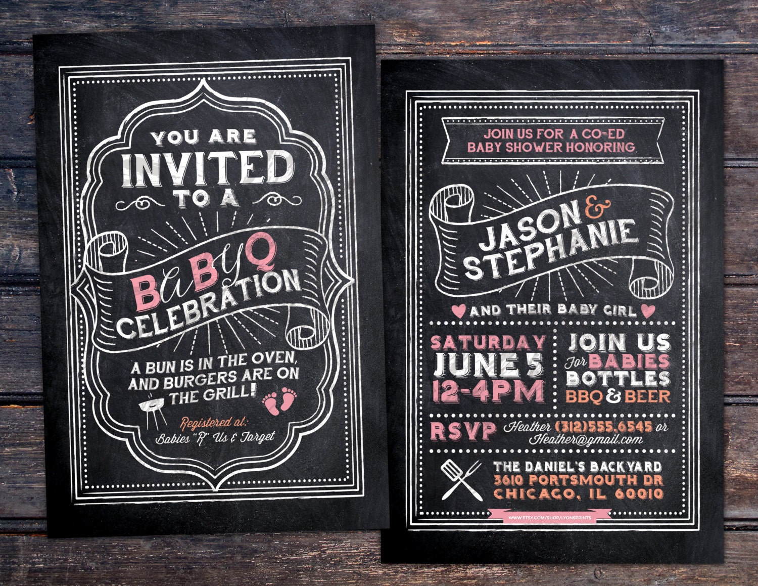 BabyQ chalkboard couples co-ed Baby Shower BBQ invitation - babyq ...