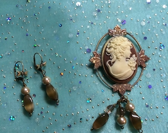 Cameo (resin) brooch and earring set