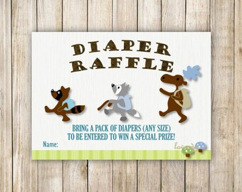 Blue WOODLAND DIAPER RAFFLE, Forest Animals Woods Diaper Raffle, Blue Baby Boy Shower, Baby Shower Game, Instant Download, Diy Printable