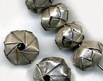 Hilltribe silver woven bead in 9x12mm Pkg of 1. b18-0166b(e)
