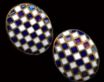 Vintage Japanese enameled checkerboard  brass domed cabochons, 12x10mm Pkg of 2.  b5-643(e)