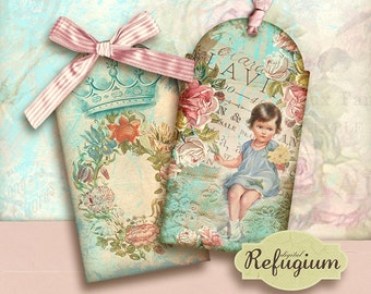 flowery romance tags/ digital Collage Sheet/ INSTANT DOWNLOAD/gift tag