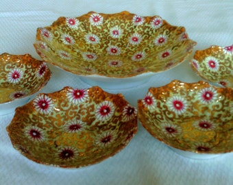 Fine China Five Piece Berry Or Fruit Bowl Set