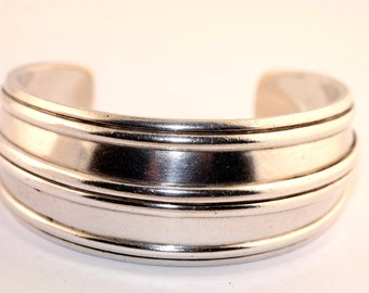 Wide Sterling Silver Corrugated Cuff Bangle Bracelet