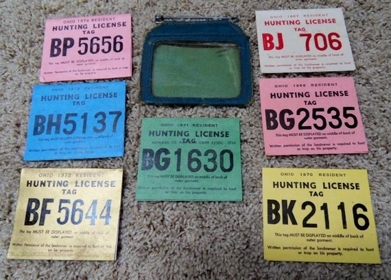 Lot of 7 vintage hunting trapping license tags by for Buy ohio fishing license