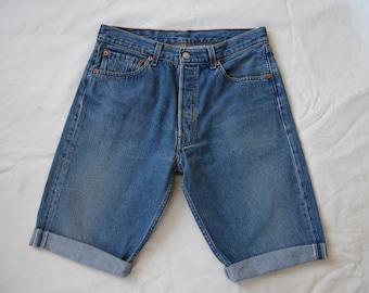 Mens denim shorts, Levis 501 long blue shorts, distressed denim jeans shorts, cut off long shorts, waist 31 Small