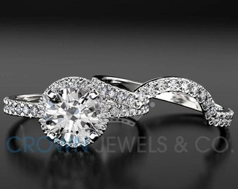 1.45 ct D SI1 White Gold Diamond Engagement Ring Set Round Brilliant Cut Solitaire With Accents And Wedding Band For Women