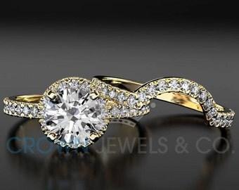 Diamond Ring 1.4 Carat F SI2 Bridal Jewelry Set Round Cut Women Engagement Ring And Band 18 Karat Yellow Gold