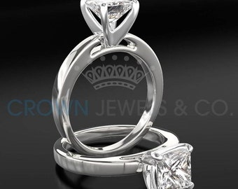 Diamond Ring Women Princess Cut Engagement Ring 2.30 Carat H SI2 Certified Diamond 14K White Gold Ring