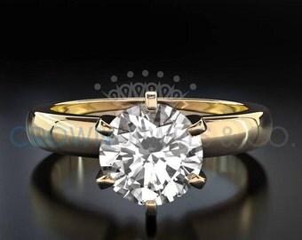 Diamond Engagement Ring 18K Yellow Gold Women Round Brilliant Cut D VVS Certified 0.9 Carat Diamond Ring
