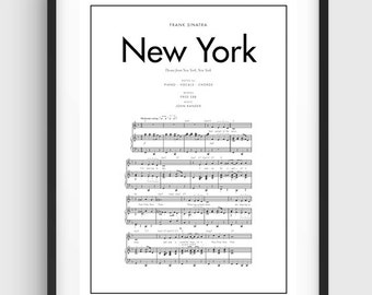 Frank Sinatra New York New York Song Music Notes Poster, Black & White Minimal Print Poster, Art, Home Art, Minimal Graphics, Music Poster