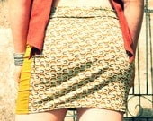 SALE 25% DISCOUNT Octagon Print Mini Skirt, With Mustard Coloured Side Panels, Boho Festival Skirt, Psy Trance, Sexy, Gypsy, Viscose Lycra